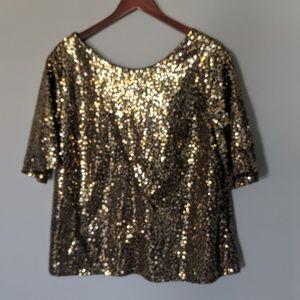 NEW Cato Sequin Black Gold Blouse